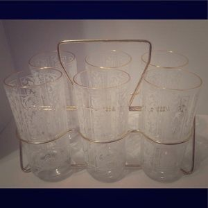 Other - Vintage white and gold Tumbler Set With caddy MCM